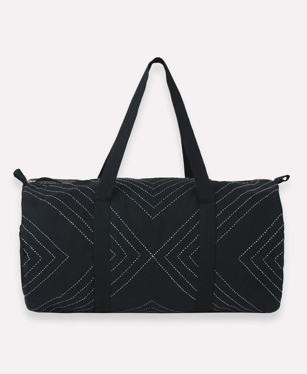 Organic-cotton weekender duffel bag with hand-stitched arrow design