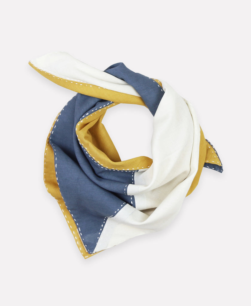Colorblock organic cotton scarf made with modern kantha stitching