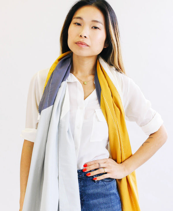 Contemporary organic cotton scarf made by Anchal artisans
