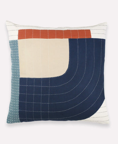 Decorative Toss Pillow - Navy and Rust | Anchal Project