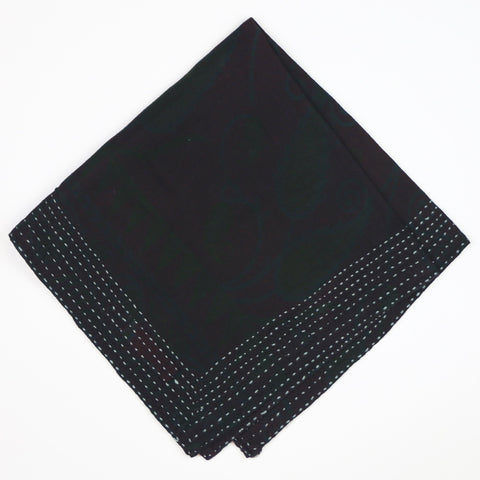 Black Overdyed Hand-Stitched Bandana