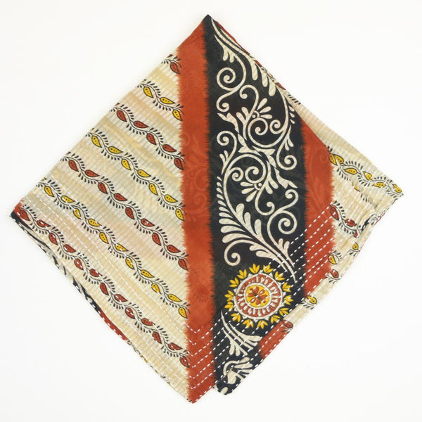 Bandana Scarf - Navy and Burnt Orange Sun | Anchal Project