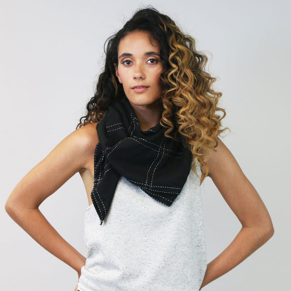 Black Overdyed Hand-Stitched Scarf