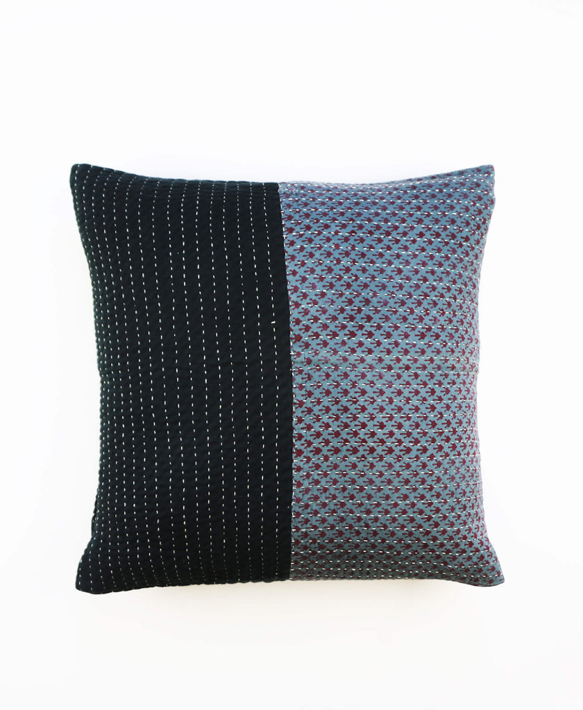 Anchal Project black and blue kantha throw pillow