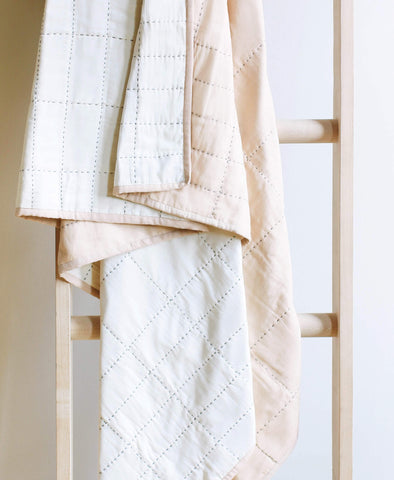Organic Cotton Grid Throw - Sand