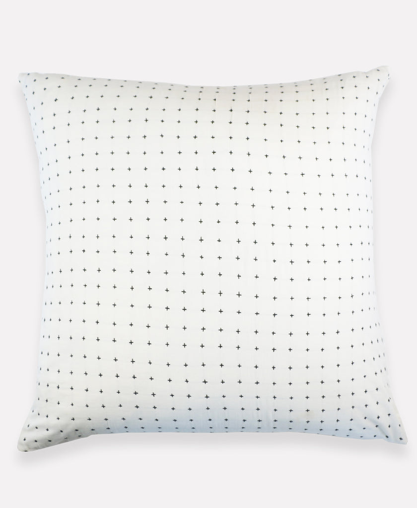 hand embroidered euro sham with detailed cross stitch patten