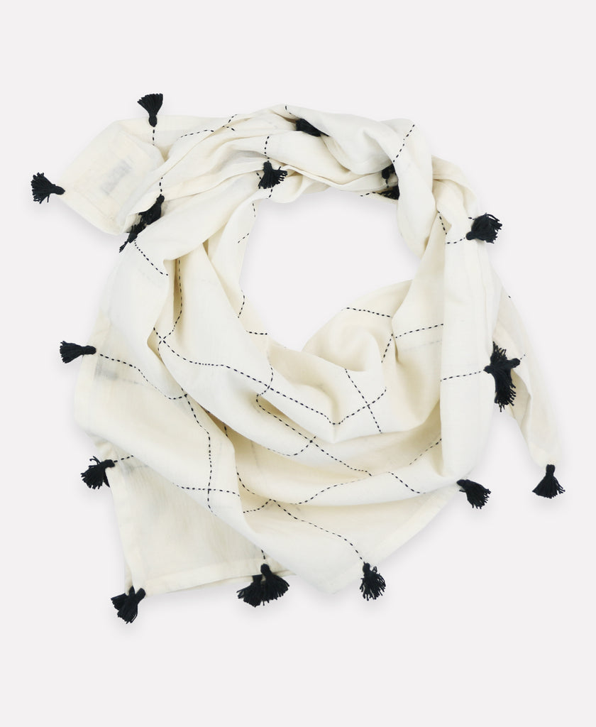 Bone scarf with hand embroidery and charcoal tassels