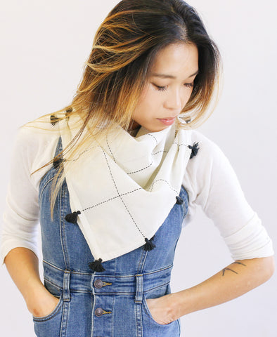 Bone Grid Square Scarf with Tassels
