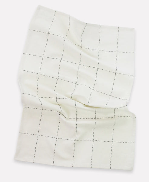 Organic Grid Stitch Tea Towel - Bone