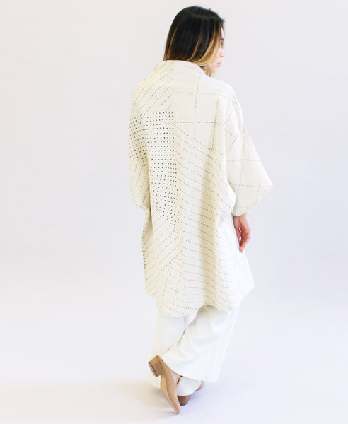 Long Bone Canvas Kimono Jacket