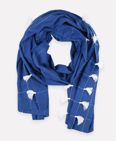 Grid Stitch Straight Scarf with Tassels - Cobalt