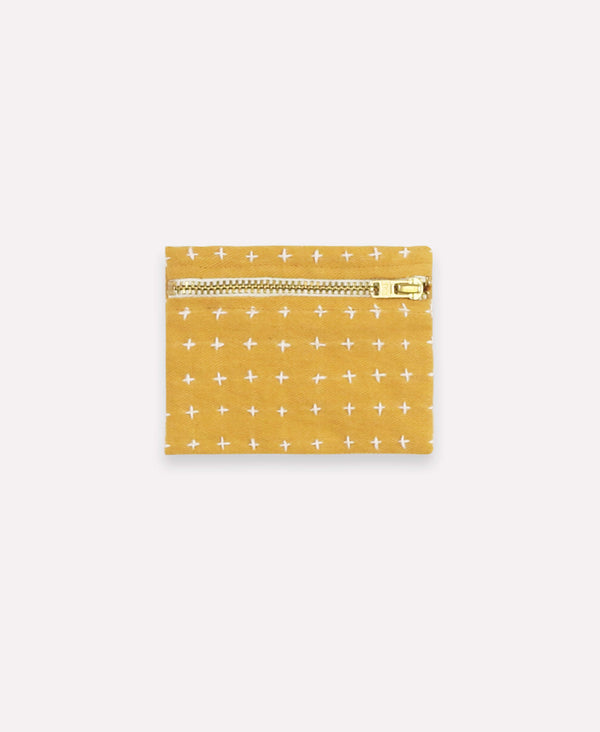 Anchal Project mustard yellow coin purse with cross-stitch embroidery