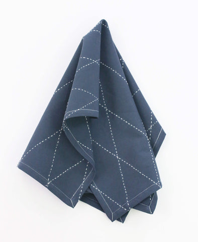 Organic Diamond Stitch Tea Towel - Slate | Anchal Project