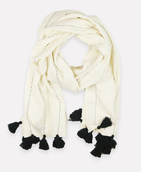 Bohemian handmade oversized scarf with tassels
