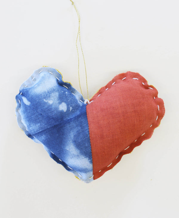 Hand Dyed Color Block Heart Ornament
