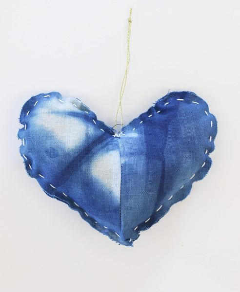 Hand Dyed Indigo Shibori Heart Ornament | Anchal Project