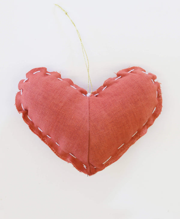 Hand Dyed Madder Heart Ornament | Anchal Project