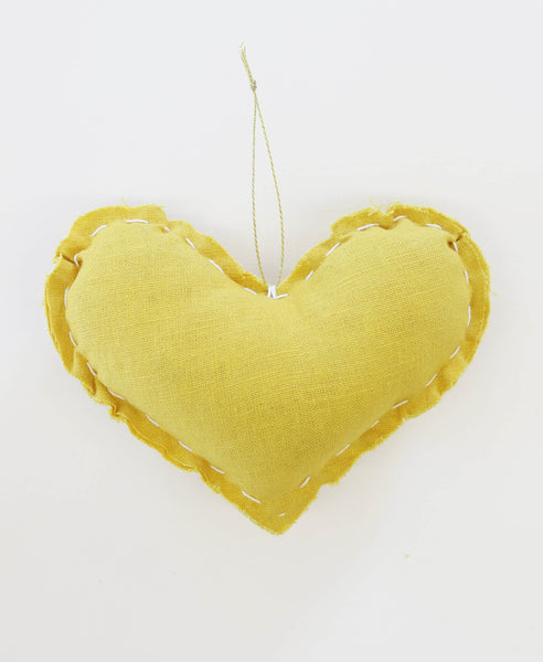 Hand Dyed Marigold Heart Ornament | Anchal Project