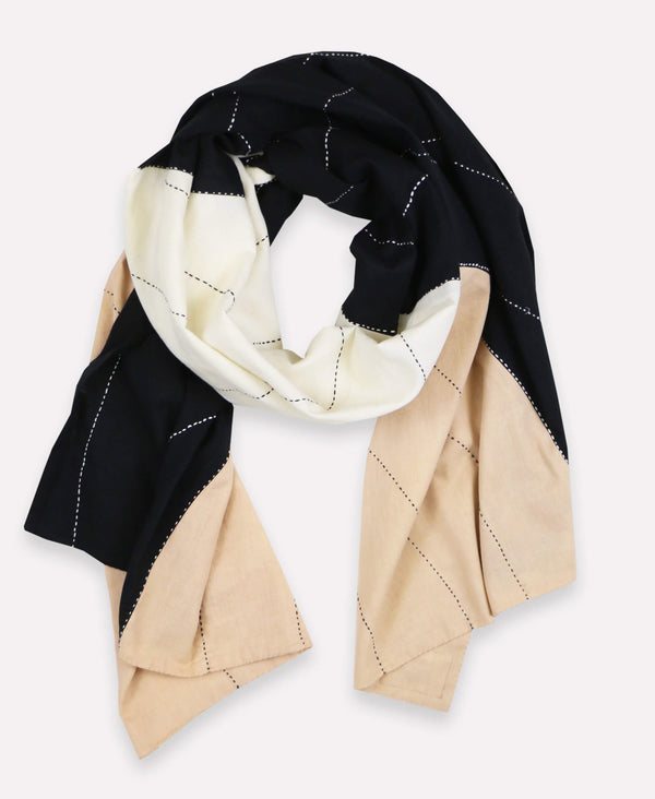 Organic cotton scarf with neutral colorblock patterns