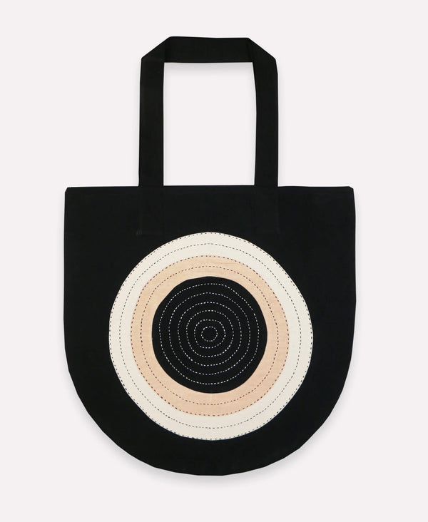 Hand-stitched Organic Cotton Canvas Tote - Eclipse | Anchal Project