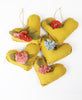 Naturally Dyed Embellished Heart Ornament - Marigold