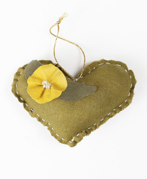 Naturally Dyed Embellished Heart Ornament - Olive