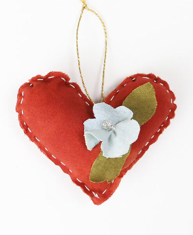 Naturally Dyed Embellished Heart Ornament - Scarlet