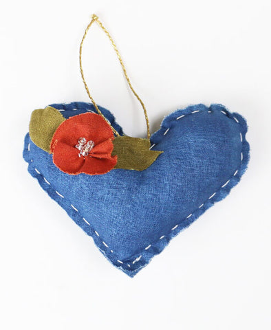 Naturally Dyed Embellished Heart Ornament - Indigo