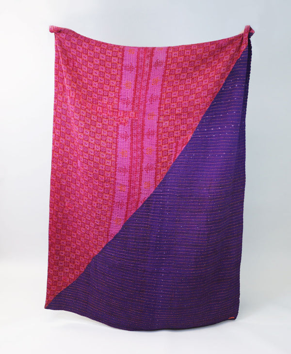 Fuchsia Overdyed Hand-Stitched Quilt