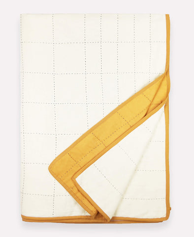 Organic Cotton Grid Throw - Gold
