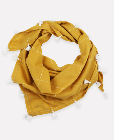 Gold Grid Square Scarf with Tassels