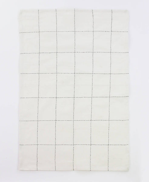 Organic Grid Stitch Tea Towel - Bone | Anchal Project