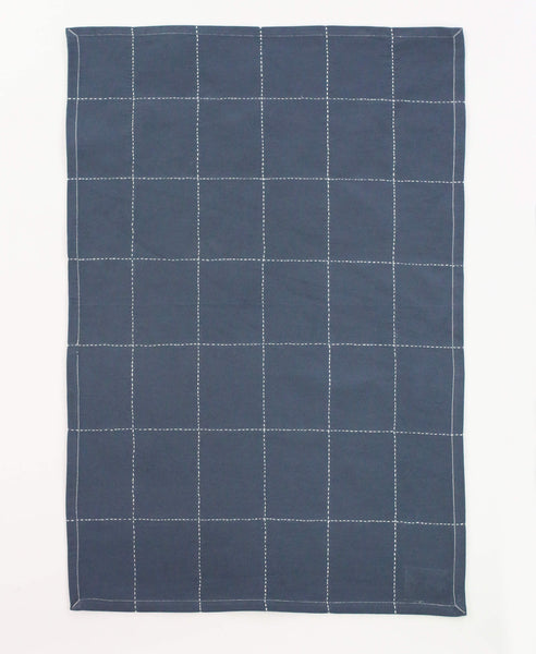 Organic Grid Stitch Tea Towel - Slate | Anchal Project