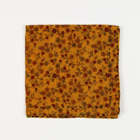 Hand Stitched Cotton Pocket Square - Golden Wildflowers | Anchal Project