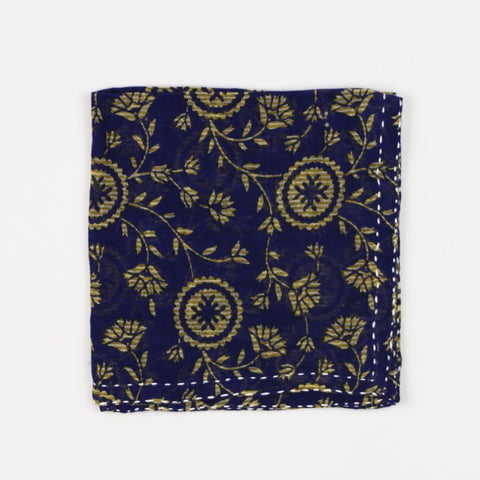 Hand Stitched Cotton Pocket Square - Navy Daffodil | Anchal Project