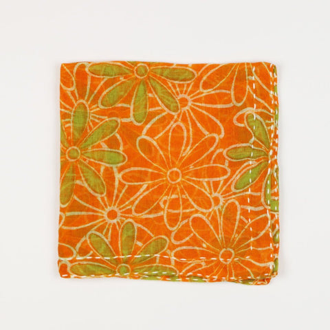 Hand Stitched Cotton Pocket Square - Orange Daisies | Anchal Project