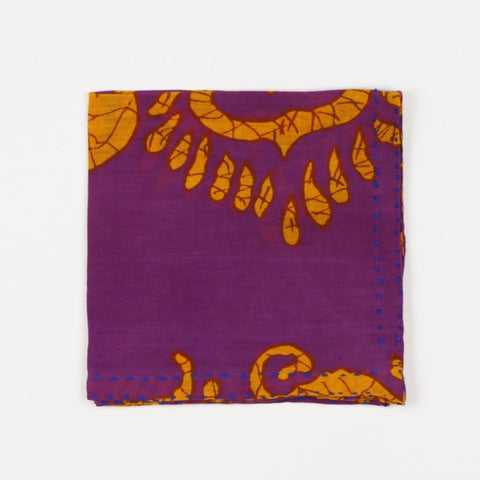 Hand Stitched Cotton Pocket Square - Purple Medallion | Anchal Project