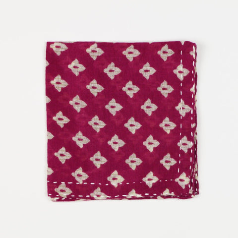 Hand Stitched Cotton Pocket Square - Magenta Tulips | Anchal Project