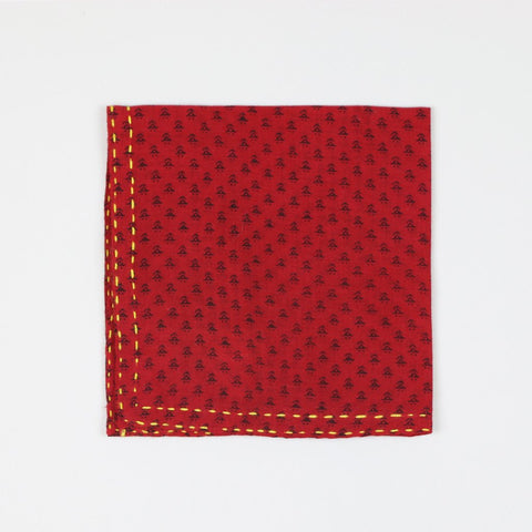 Hand-stitched Cotton Pocket Square - Red Dollop | Anchal Project