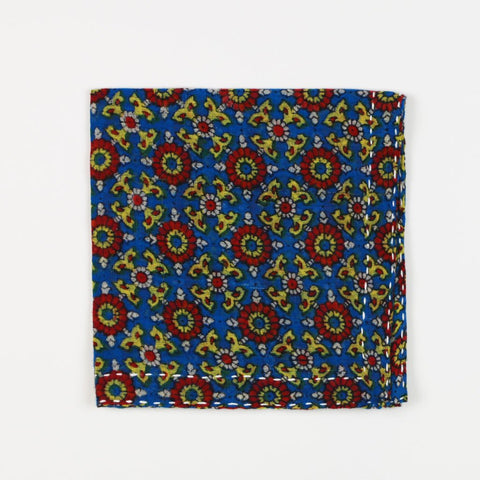 Hand Stitched Cotton Pocket Square - Technicolor Suns | Anchal Project