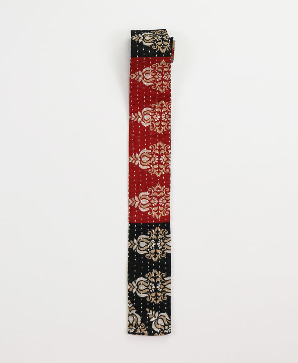 Hand-stitched Cotton Men's Tie - Cardinal Red Scroll | Anchal Project