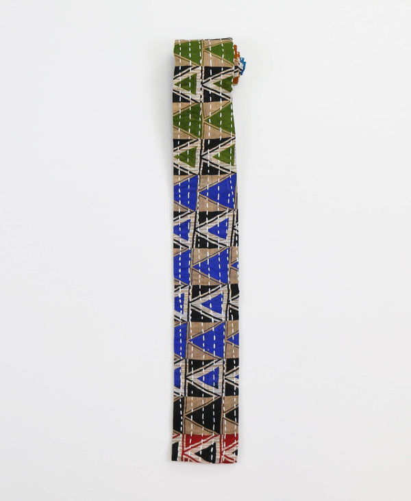 Hand-stitched Cotton Men's Tie - Cobalt Triangles | Anchal Project