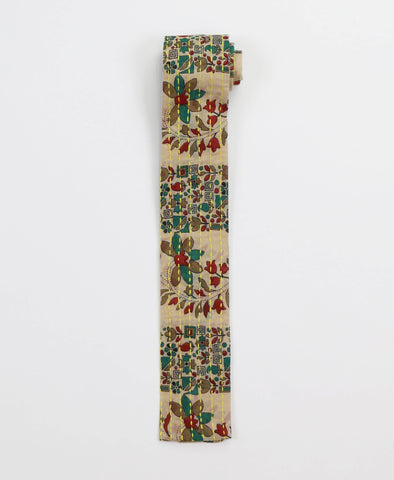 Hand-stitched Cotton Men's Tie - Evergreen Floral | Anchal Project