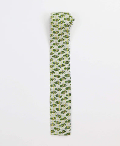 Hand-stitched Cotton Men's Tie - Green Sprouts | Anchal Project