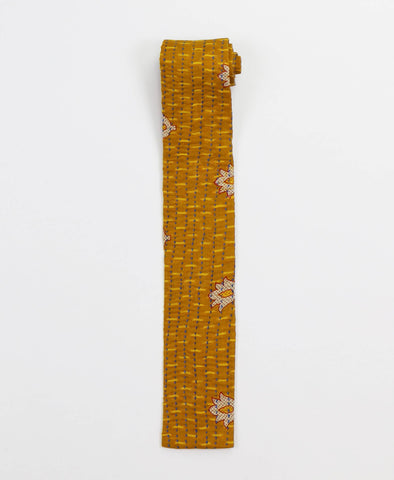 Hand-stitched Cotton Men's Tie - Mustard Medallions | Anchal Project