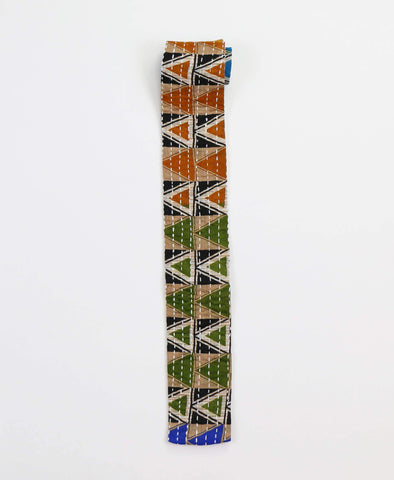 Hand-stitched Cotton Men's Tie - Olive Triangles | Anchal Project