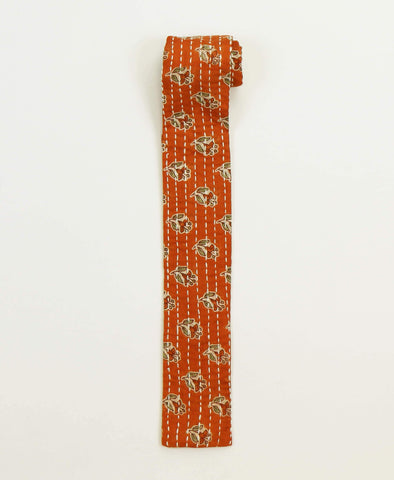 Hand-stitched Cotton Men's Tie - Orange Floral | Anchal Project
