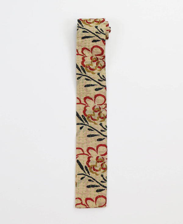Hand-stitched Cotton Men's Tie - Red Flowers | Anchal Project