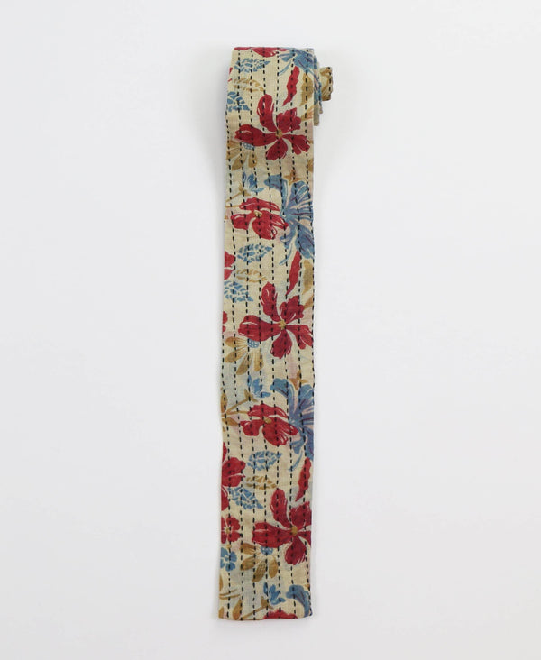 red floral vintage cotton tie with kantha stitching