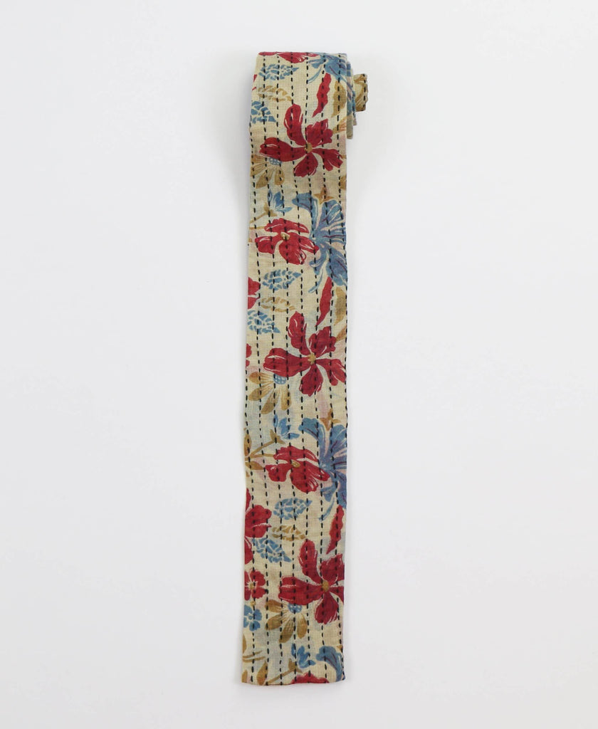 Hand-stitched Cotton Men's Tie - Ruby Floral | Anchal Project